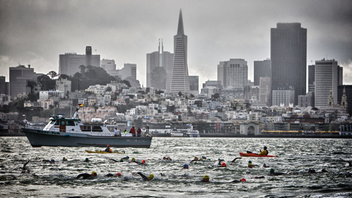 #2 Sports Event Professional and amateur athletes from across the globe bid for the 2,000 Escape from Alcatraz spots, but the world-famous triathlon can turn into a duathlon at the last minute. Case in point: In 2017, race officials canceled the swim on race day due to a small craft advisory and heavy winds. Barring unsafe weather conditions, the triathlon starts with a 1.5-mile swim from Alcatraz Island to the San Francisco shoreline, followed by an 18-mile bike ride to Golden Gate Park and an eight-mile run to Baker Beach. Next: June 2018