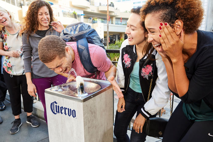 Jose Cuervo's National Tequila Day stunt substituted tequila for water in a popular Hollywood location.