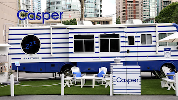 The activation featured a branded lounge and RV that invited passersby to enjoy a nap with Casper products.