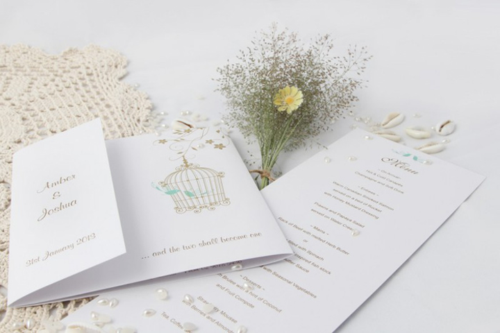 A beautiful invitation, such as one from Dreamday Invitations (pictured), can be ruined if cliché phrases are used.