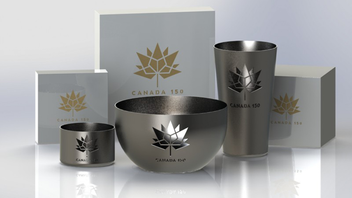 Vancouver-based corporate gift and service company Janet Helm is offering a variety of items that can be customized with the official Canada 150 logo. The merchandise, which also can be co-branded with company logos, includes stainless steel cups, bowls, and wine bottle coasters. Prices are available on the Janet Helm website.