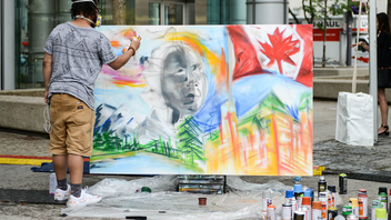 The 11th edition of Toronto's Luminato Festival took place June 14 to 25 downtown. Starbucks Canada hosted a live art event in David Pecaut Square, where local artist Leyland Adams spray-painted people's wishes for Canada's future as part of the national #150PlusWishes campaign, which celebrates the country's 150th anniversary.