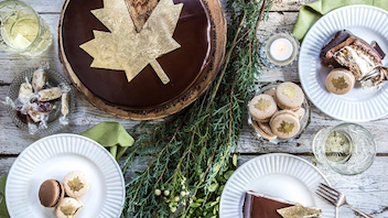 Thierry Cafe in Vancouver recently celebrated with limited-edition Canada-theme desserts, including hazelnut macarons with maple buttercream, and a birthday cake made with chewy hazelnut dacquoise, a maple ganache with toasted hazelnuts, light maple cream, and a layered dark chocolate mousse.