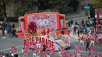 "Pasadena #4 Festivals, Parades & Holiday Event A 128-year tradition that brings 700,000 people to Pasadena, California, the precursor to the Rose Bowl football game included its parade, featuring a theme of ""Echoes of Success,"" where floats celebrating people who help others succeed were on display. Among them was a float created by the AIDS Healthcare Foundation in honor of the victims of the 2016 Pulse Nightclub shooting in Orlando. Bumped this year to Monday, January 2, because of a ""never on a Sunday rule,"" the parade included large marching bands and 20 equestrian units such as the Anheuser Busch Budweiser Clydesdales and the Valley Hunt Club. Several television networks show coverage of the events, and game airs on ESPN. Next: January 1, 2018"