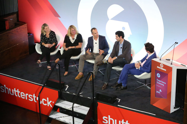 (Pictured, left to right) Karina Montgomery, vice president of strategic solutions at Pandora; Maureen Ford, president of national and festival sales at Live Nation; Andrew Essex, C.E.O. of Tribeca Enterprises; Bernardo Spielmann, senior brand director at Heineken; and Sebastian Blum, a technology, media, and telecom advisory partner at PwC Strategy&.