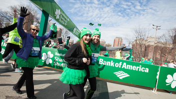 #3 Sports Event The 8-kilometer road race starts and ends in Chicago's famous Grant Park. Sponsored by Bank of America, the shuffle marks the unofficial kickoff to the Chicago's outdoor running season. Many of the 22,000 runners wear festive green gear to celebrate the race's theme. Next: March 25, 2018