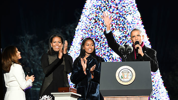 "#2 Holiday Event (up from #3) Closing out last year's celebration of the National Park Service's 100th anniversary, President Barack Obama and First Lady Michelle Obama led their final iteration of the event in President's Park on December 1, 2016. They were surrounded by entertainers including Yolanda Adams, Marc Anthony, Kelly Clarkson, the Lumineers, Chance the Rapper, James Taylor, Garth Brooks, and Trisha Yearwood, who performed holiday songs while accompanied by Afro Blue and the Airmen of Note. Olympic champion swimmer Simone Manuel also made an appearance. The tree spreads its cheer year-round in a Twitter account, with clever posts such as ""You'll never hear me complain it's too early for Christmas candy in the grocery store"" earlier this month. Next: November 30"