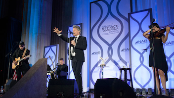 #14 Political & Press Event Rock star Jon Bon Jovi received the Service to America Leadership Award for his work with the Jon Bon Jovi Soul Foundation at the June 20 event, later performing for the 580 guests at the Andrew Mellon Auditorium. FedEx was given the Corporate Leadership Award for the FedEx Cares initiative and the company's pledge to invest $200 million in 20 communities by 2020. The event is presented by the N.A.B. Education Foundation. Next: June 12, 2018