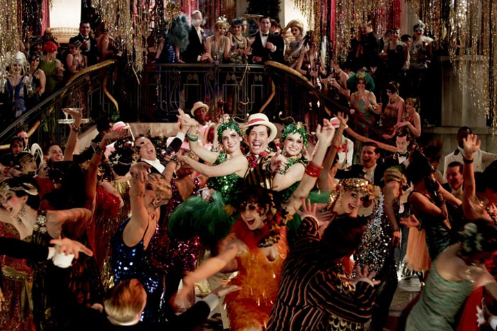An outrageous party scene from The Great Gatsby (2013).