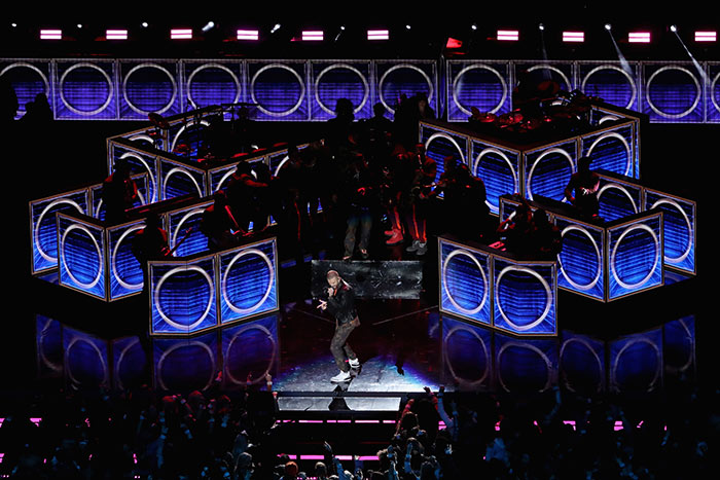 Timberlake performed a medley of his songs on stage against a backdrop that included oversize blue panels resembling stereo speakers.