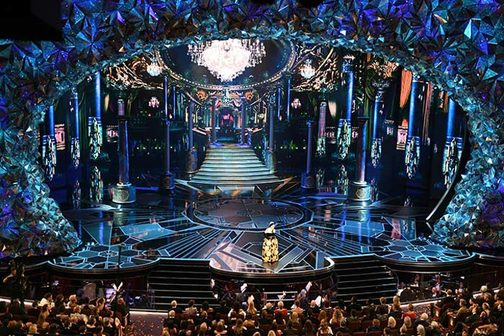 Event producers praised the stage's crystal proscenium, which reflected the changing lighting design.