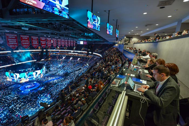 At the 2017 AIPAC Policy Conference at the Capital One Arena in Washington, D.C., Scott Circle Communications created a press area where media could file stories while watching the event.