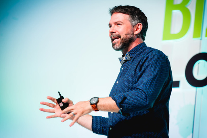 Two Bit Circus C.E.O. Brent Bushnell discussed emerging technology at the day's Event Innovation Forum.