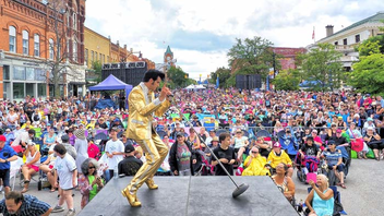 Collingwood, Ontario #13 Festival & Parade Hundreds of tribute artists and thousands of fans attended the world's largest Elvis festival this year. Tim E. Hendry won the pro-division competition, securing a spot for his ninth attempt to become the Ultimate Champion in Memphis. OLG returned as the main sponsor. Next: July 26-28, 2019