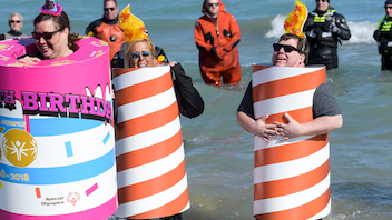 "#5 Sports Event This year's plunge saw more than 5,000 participants jump into a frigid 37-degree Lake Michigan. Attendees dressed in costumes like a South Side Irish Parade Queen, a group of Nintendo characters, and as ""dibs"" cones, raising $1.6 million for the Special Olympics. The event included former Bears player Otis Wilson; previous celebrity plungers have included Lady Gaga, Jimmy Fallon, and Dax Shepard. Next: March 2019"
