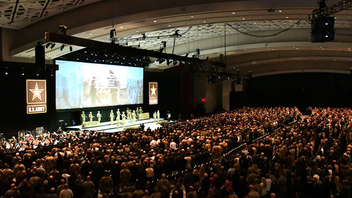 #3 Trade Show & Convention Secretary of the Army Mark T. Esper delivered the keynote speech at the opening ceremony of this October's Association of the United States Army's Annual Meeting and Exposition at the Walter E. Washington Convention Center. This event drew Army leaders and soldiers, notable Army veterans, and supporters from around the world, and attendance grew to more than 31,000 from last year's 29,734. Highlights included addresses from Karen Pence, second lady of the United States; Kirstjen Nielsen, secretary of homeland security; and Patrick Shanahan, deputy secretary of defense. Actor Gary Sinise and the Lt. Dan Band performed. Journalist Martha Raddatz received the George Catlett Marshall Medal. The show included more than 700 exhibitors in the exhibit hall. Next: October 14-16, 2019