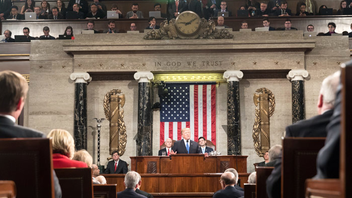 "#1 Political & Press Event (up from #2) President Trump delivered his first official State of the Union speech on Tuesday, January 30, 2018, after giving his first address to a ""Joint Session of Congress"" last year. The 2018 State of the Union speech clocked in at one hour and 20 minutes, what the New York Times says is the third longest State of the Union speech in the last 50 years. Representative Joseph Kennedy III provided the response for the Democrats following Trump's speech. The Nielsen Company reported that 45.6 million people tuned into the State of the Union address across 12 networks. Next: January 30, 2019"