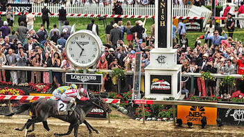 #2 Sports Event Racing fans in 2018 celebrated a Triple Crown win for Justify, whose road to the historic title included a win at Preakness Stakes' foggy, muddy track. The wet weather might have deterred spectators: 134,487 came to the course in May, down from last year's more than 140,000 attendees. This ended a four-year stretch of record-breaking attendance, but the 2018 race still proved to be the third-largest crowd in Preakness history. Television ratings went up slightly over last year, and it ranked as the weekend's most-watched sporting event. Preakness Village added new glass chalets instead of vinyl tents for its luxury accommodations. Meanwhile, Under Armor skipped out this year as a Preakness party sponsor, choosing not to host a finish-line hospitality tent. Next: May 18, 2019