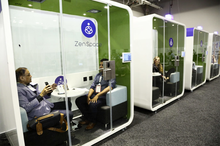 "ZenSpace's ""Smart Pods"" are Wi-Fi-enabled enclosures outfitted with video displays, smart locks, smart lights, and power and USB outlets, and can be placed anywhere in an event space."