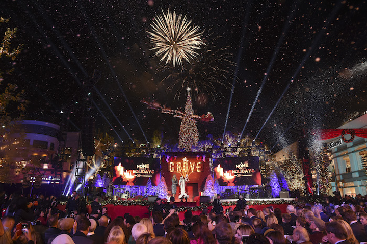 The Grove hosted its Christmas-tree lighting on November 18. Produced by Mirrored Media and sponsored by Citi, the event was hosted by Molly Sims and featured performances by Andy Grammer, Daya, Lindsey Stirling, and more. More than 25,000 people attended the event, which included fireworks, the arrival of Santa Claus, and the lighting of the 100-foot-tall tree.