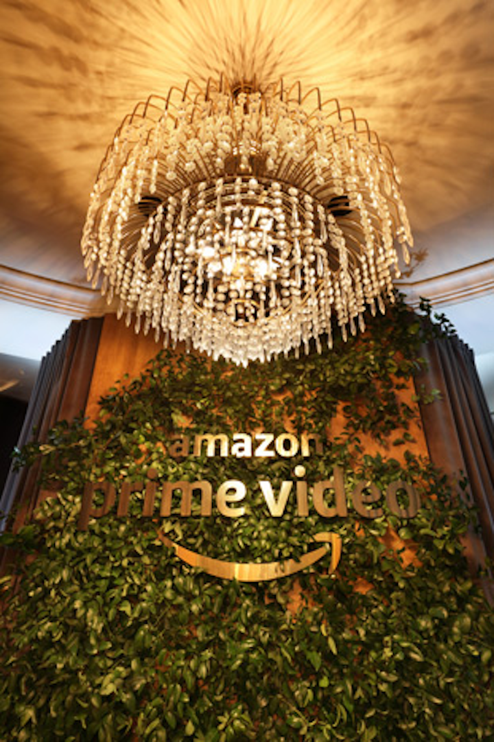 Held in the Beverly Hilton's Stardust Penthouse on Sunday night, Amazon Prime Video's party was designed and produced by Event Eleven. An elegant entry wall featured a large logo and greenery by Floral Crush Studio.