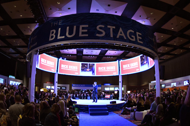 Agriculture and technology converged in new ways at the event. An in-the-round stage was one way organizers shook up the convention's footprint.