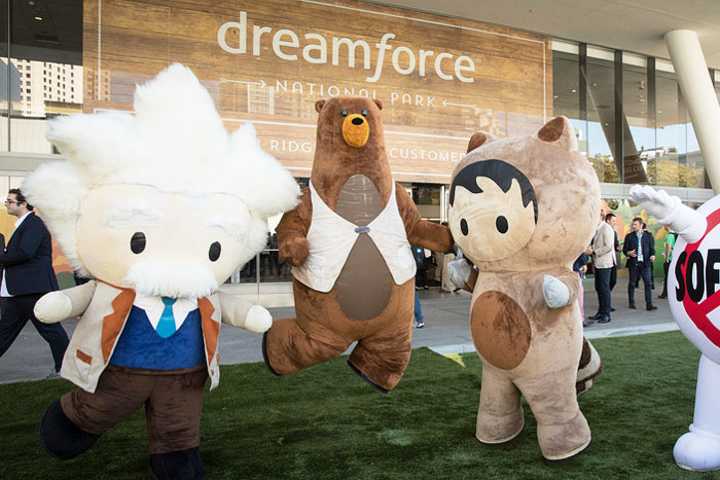 Mascots represented different parts of Salesforce's community.