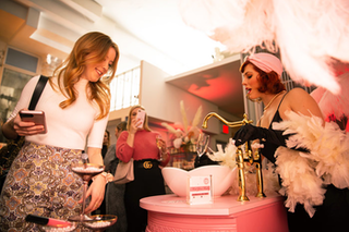 Champagne Flowed From a Vintage Sink at This Beauty Event