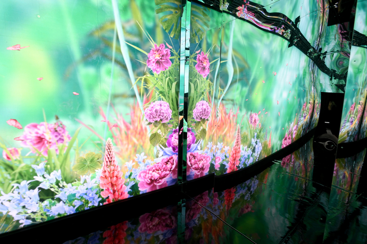The experience was meant to evoke a whimsical garden, with animated nature inspired by Pandora's spring collection.