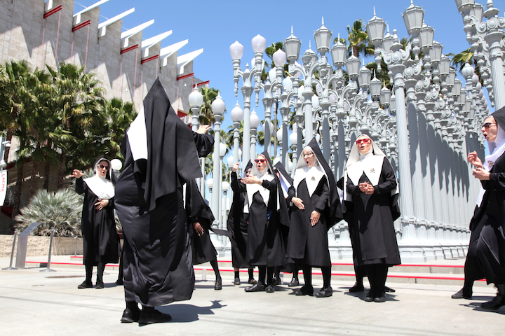 To promote Amazon Prime's upcoming series Good Omens—starring Michael Sheen, David Tennant, and Jon Hamm—the company worked with creative production agency Tool on an attention-grabbing stunt through the streets of Los Angeles. The Chattering Order of St. Beryl, a group of Satan-loving nuns featured in the original Good Omens novel, sang a cappella covers at LACMA, the Grove, and other tourist attractions.