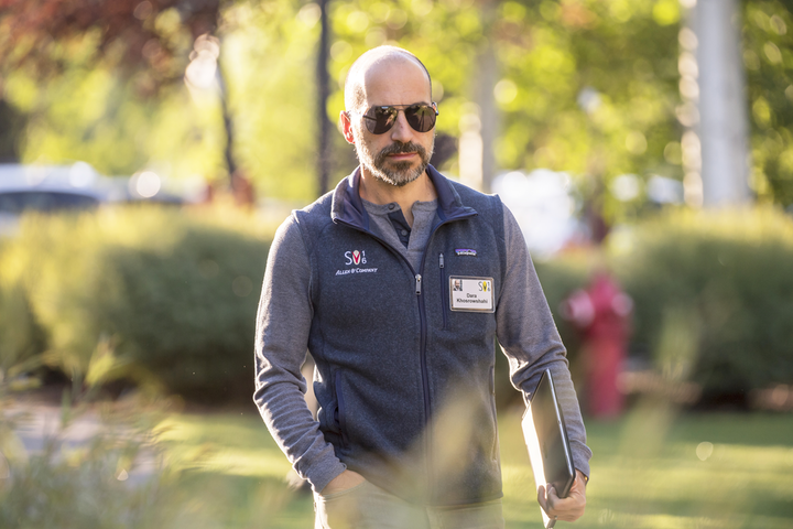 Uber C.E.O. Dara Khosrowshahi wears a co-branded Patagonia vest at the Allen & Co. Media and Technology Conference in Sun Valley, Idaho, in July 2016.