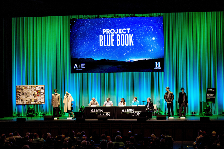 At a panel at AlienCon 2018 in Pasadena, creators, writers, and producers of 'Project Blue Book' discussed the U.F.O. drama series, which was recently renewed for a second season.