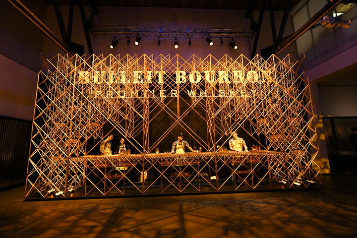 The Bulleit 3D Printed Frontier Lounge featured a custom 3-D printed bar, made from about 3,000 3-D-printed components. Its design was inspired by the label on the bourbon bottle.