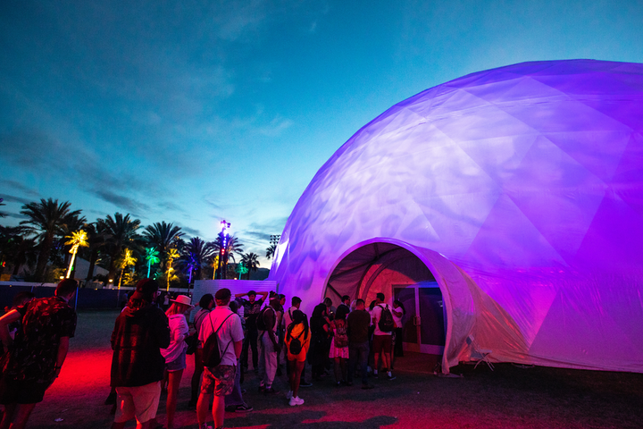 HP's 11,000-square-foot Antartic Dome at Coachella was billed as the largest temporary geodesic projection dome in the world.
