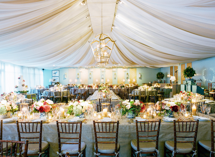 """""""We were challenged with transforming a traditional frame tent into a beautiful, exquisitely detailed and layered room—essentially making the tent disappear—creating a space that felt as if you were walking into someone's fabulous home for dinner."""" Pictured: Private wedding in Dallas"""