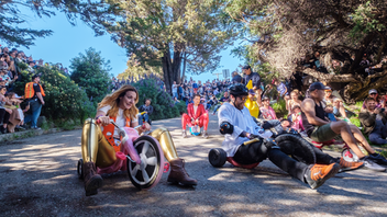 "New to the list The organizers behind Bring Your Own Big Wheel have no interest in looky-loos and Instagram spectators, but this under-the-radar tradition welcomes active participants—people who will sacrifice a few bumps and bruises to zig-zag down Vermont Street in the name of silly speed-demon glory. The current organizer, who goes by Frog, says BYOBW is about doing something absurd just for the heck of it: ""You put on your banana costume, squish your butt into a seat too small, and roll/skid down the street with a few hundred other wigged and tinseled people: some lawyers, some construction workers, some students, and—of course—some tech bros. But, just for those couple hours, you are all equal."" The 19-year-old event draws about 1,200 Big Wheel enthusiasts together on Easter Sunday, and there are a few rules—no metal wheels, pack out what you pack in, respect the neighbors, and sign a liability waiver before riding. Donations are encouraged, but will never be required, to help cover the cost of the event. Next: April 12, 2020"