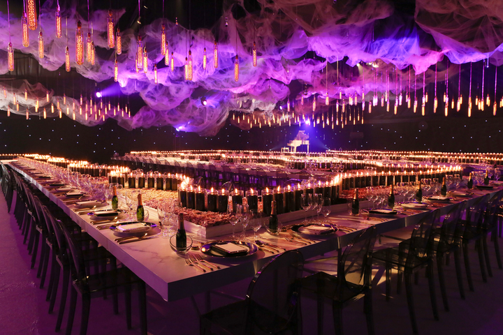 """""""We built a Neverland-inspired formal dinner in the middle of a forest. It was intimate and artistically luxurious—whimsical but with a bit of an edge."""" Pictured: DJ Deadmau5's wedding"""