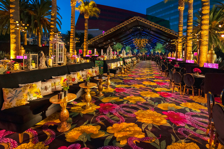 """HBO's 2018 Emmy party """"put a smile on my face, and the guests were blown away. The color palette, the carpet, the textiles, the tabletop decor, the large-scale decor elements all blended to create a magical Garden of Eden for this one evening."""""""
