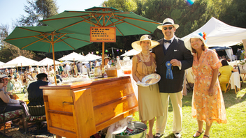 "The Art Deco Society turns back the clock to the 1920s to 1940s at the Dunsmuir Hellman Historic Estate each summer in a lawn party for the ages. Period-appropriate ensembles set the tone for Gatsby Summer Afternoon—so much so that guests are directed to the Jay Gatsby Costume Closet of vintage accessories if they fail to dress on-theme for the event. (Suggested donations for borrowing items from the Gatsby closet: $5 cash.) The event's website includes instructions on how to properly ""Gatsby,"" which extends to wardrobe guides, shopping, and picnic tips. Prizes at the event are awarded for outstanding outfits, Charleston skills, and picnics. Next: September 8, 2019"