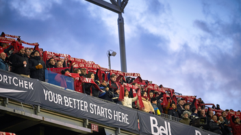 Despite the wintry weather, 23,000 soccer fans came out for the 2019 home opener at BMO Field on St. Patrick's Day, which saw the home team lose by one point to the New England Revolution. The club hosted a pre-match rally in Liberty Village and a March to the Match, for which thousands of fans painted their faces red. Next: Spring 2020