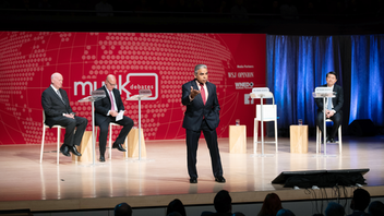 Following the live debate at a sold-out 2,600-seat Roy Thomson Hall in spring 2019, a one-hour version of the debate was aired on Buffalo public broadcaster WNED-TV, a first for the event. The topic of the spring debate was: Be it resolved that China is a threat to the liberal international order. Next: Fall 2019