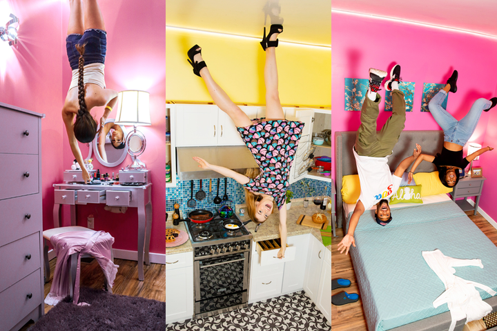 The Museum of Illusions in Hollywood has opened a new permanent exhibit called the Upside Down House. Seven rooms—including a bedroom, a kitchen, and a living room—offer colorful, interactive photo ops where guests appear to be hanging from the ceiling.