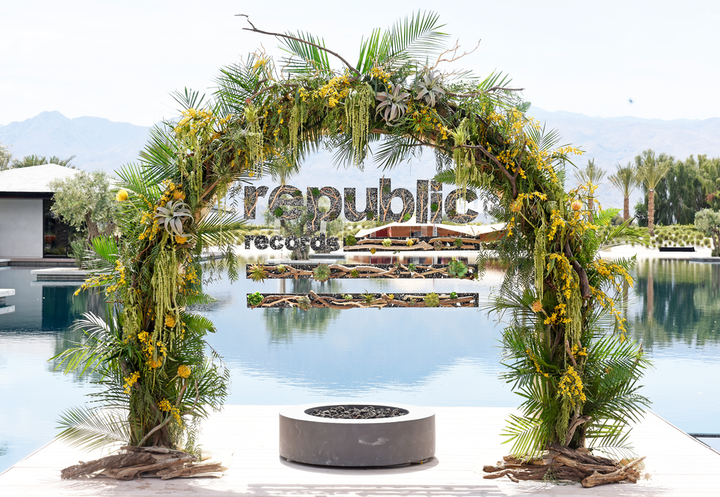 At Republic Records' annual Coachella party in April, a step-and-repeat included the brand's logo made from greenery, florals, and wood. See more: Coachella 2019: See Inside the Biggest Parties and Brand Activations