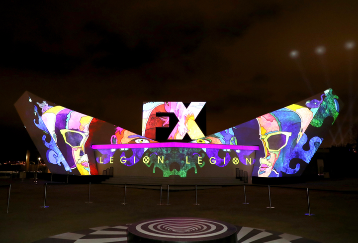 At Comic-Con International, held in San Diego in July, FX Networks' Fearless Forum activation featured a white building in the shape of the FX logo. A nightly projection from BartKresa Studio and FX Design featured colorful, changing graphics inspired by the network's shows. See more: Comic-Con 2019: The Coolest Things You Missed at the Massive San Diego Convention