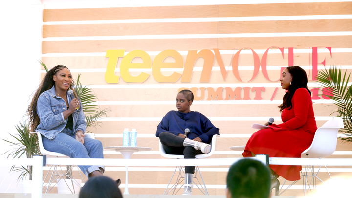 Serena Wiliams (left) was interviewed by activist Naomi Wadler and Teen Vogue editor in chief Lindsay Peoples Wagner at the Teen Vogue Summit in Los Angeles in December.
