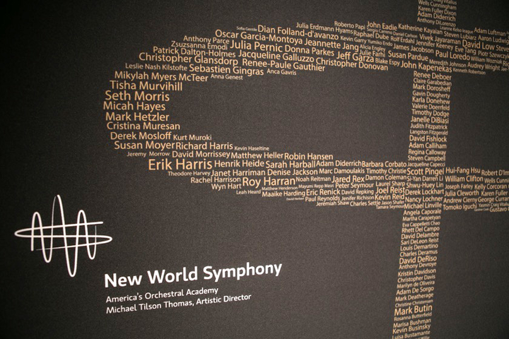 The 28th anniversary of the New World Symphony Gala took place March 2016 in Miami. The gala honored 1,000 New World Symphony (N.W.S.) alumni. On the step-and-repeat, the names of all of those alumni comprised the N.W.S. logo.