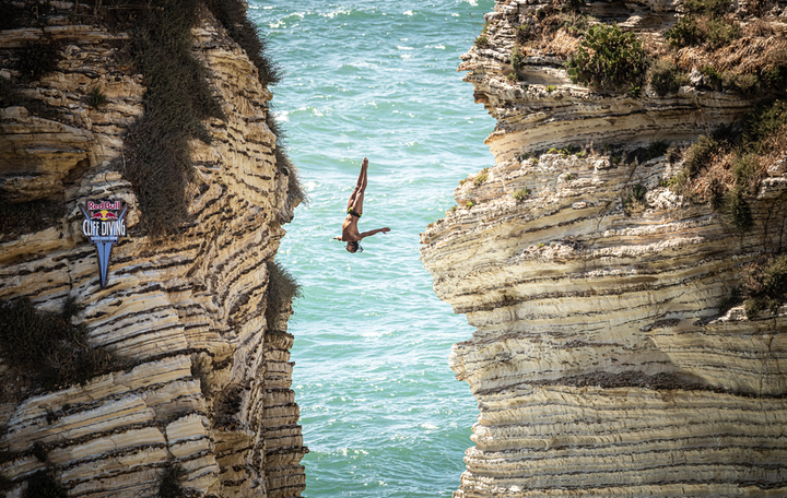 Nathan Jimerson of the U.S. dives from an 82-foot cliff in Raouche during the fifth stop in Beirut, Lebanon, on July 13.