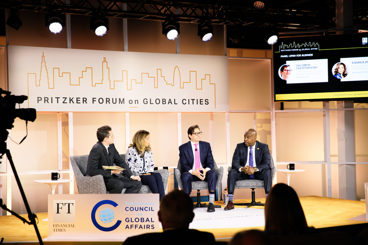 The Pritzker Forum on Global Cities featured a stage designed for live stream audiences.