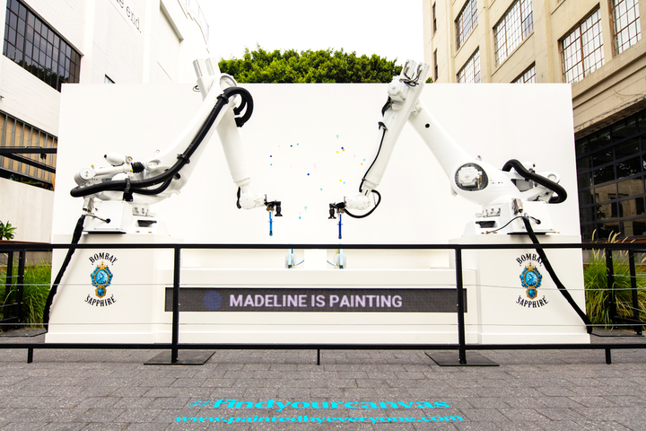 Earlier this week, Bombay Sapphire launched its 'Painted by Everyone' art installation at Row DTLA. The project invites people around the country to log onto the gin brand's website and select a color and position on the canvas; robotic technology will then add it to the physical canvas. The 'social experiment,' as the brand calls it, is part of an ongoing #FindYourCanvas initiative focused on creativity. The painting will be displayed at next week's Other Art Fair L.A., where each participant will be credited as an exhibiting artist.