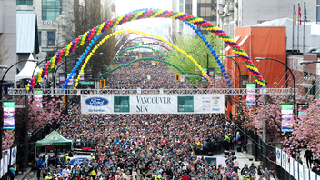 With about 40,000 participants, the Vancouver Sun Run is a favorite with international elite competitors, recreational runners, joggers and walkers, wheelchair competitors, teams, schools, and children. First run in 1985, the course for Canada's largest 10k road race goes through downtown Vancouver, Stanley Park, and across the Cambie Street Bridge. The title sponsor is the city's daily newspaper, the Vancouver Sun, while Ford is the presenting sponsor. The next race will be its 36th edition. Next: April 19, 2020